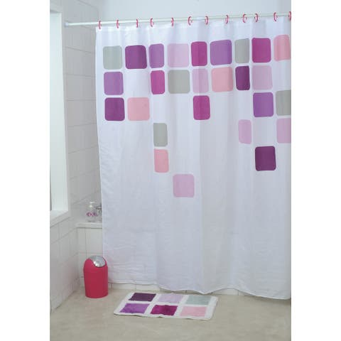 "Extra Length Polyester Bathroom Shower Curtain Vitamine 71""L x 79""H"