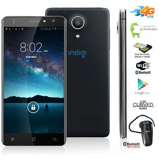 Indigi 4G LTE AT&T Unlocked Android 6.0 Google SmartPhone + Bluetooth Bundle - Black