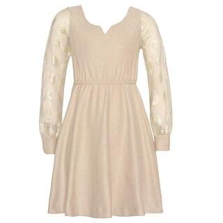 Bonnie Jean Girls Gold Round Split Neck Glitter Christmas Dress