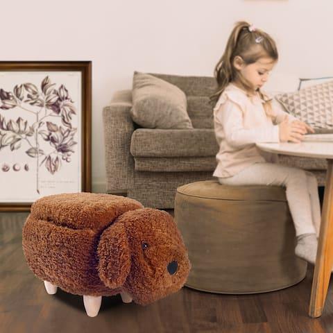 Dog Animal Storage Ottoman, Cute upholstered Footrest/Foot Stool/Kids Ride on Ottoman