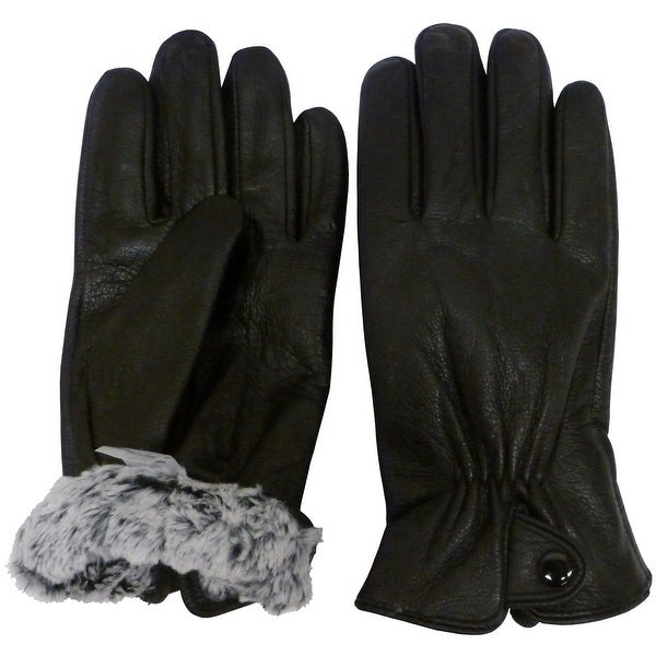 dc0877ee0 Shop NICE CAPS Mens 100% Genuine Leather Glove With Plush Lining And Snap  Closure - Black - Free Shipping On Orders Over $45 - Overstock - 15422205