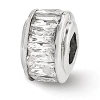Italian Sterling Silver Reflections Clear CZ Bead (4mm Diameter Hole)