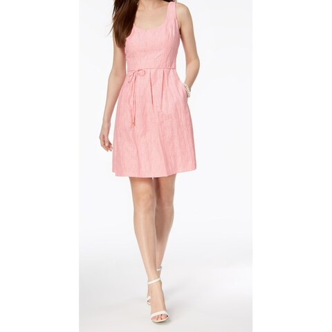Pappagallo Pink Shadow Striped Pleated Women's Size 16 A-Line Dress