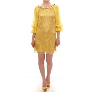 Dolce & Gabbana Yellow lace crystal mini dress