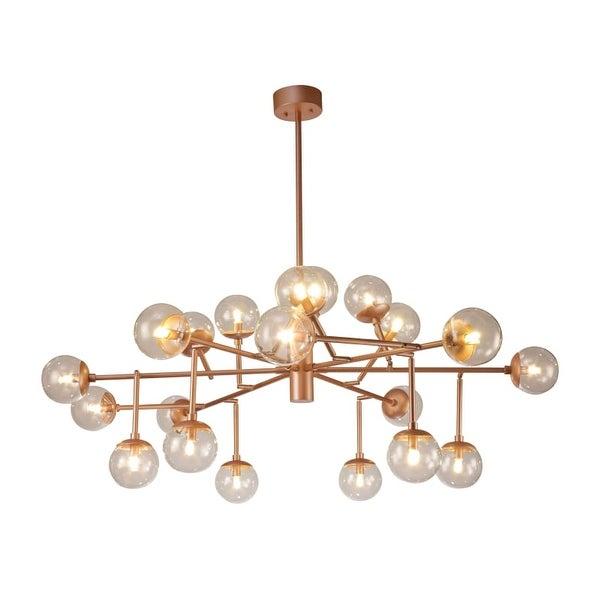 Contempo Lights Shsc307 Manhattan 20 Light 58 Wide Led Chandelier With Globe Gl