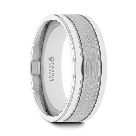 Thorsten CHRONOS Tungsten Rings for Men Flat with Offset Grooves Polished Edges Wedding Ring Band Satin Center Inlay