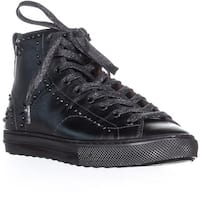 Coach C216 Bejeweled High Top Lace Up Sneakers, Gunmetal - 7 us / 37 eu