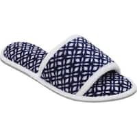 Dearfoams Women's Microfiber Terry Open Toe Slipper Navy/White