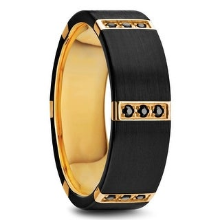 MURAMASA Flat Brushed Black Titanium Gold Plated Ring with Diamonds