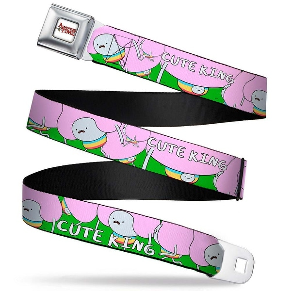 Adventure Time Logo White Full Color Cute King Poses Green Webbing Seatbelt Seatbelt Belt