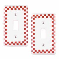 2 Switch Plate Red Porcelain Checkered Single Toggle