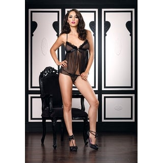 Leg Avenue Lace Trimmed Sheer Baby Doll and Matching G-String - Multi