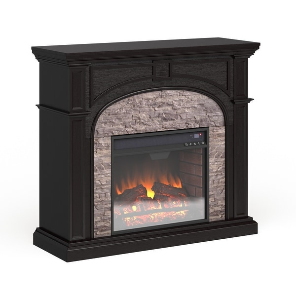 Copper Grove Highfalls Black Stacked Faux Stone Electric Fireplace