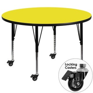 Fun & Games Activity Table 42'' Round Yellow High Pressure Laminate Adj Short Legs w/Wheels