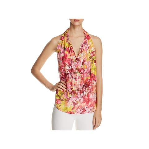 T Tahari Womens Lynna Blouse Ruffle Collar V-Neck