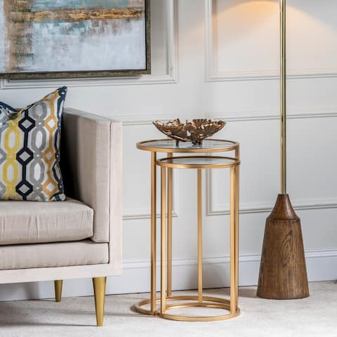 Mary S/2 Gold Glass Printed Faux Marble & Metal Nesting Tables