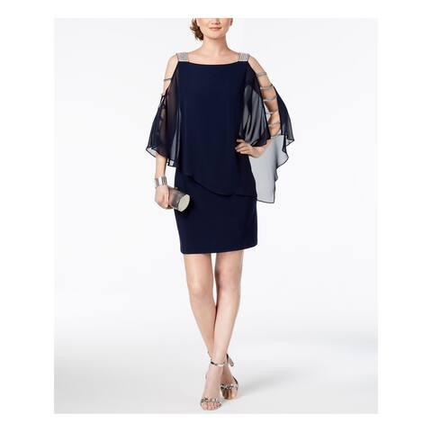 MSK Navy 3/4 Sleeve Above The Knee Sheath Dress Size S