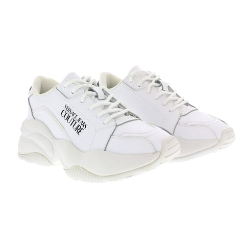 Versace Jeans Couture White Signature Classic Lace Up Sneakers