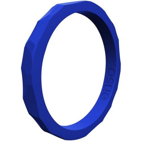 Enso Rings Hammered Stackables Series Silicone Ring - Royal Blue