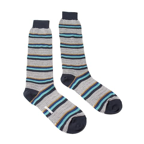 Missoni GM00COU4191 0002 Black/Turquoise Striped Knee Length Socks