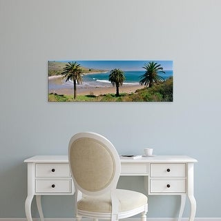 Easy Art Prints Panoramic Image 'View of palm trees on the beach, Refugio  Beach, Santa Barbara, California' Canvas Art