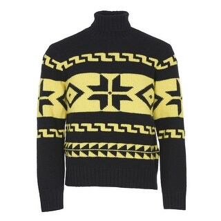 Polo Ralph Lauren Wool and Cashmere Turtleneck Sweater Black and Yellow Large - L