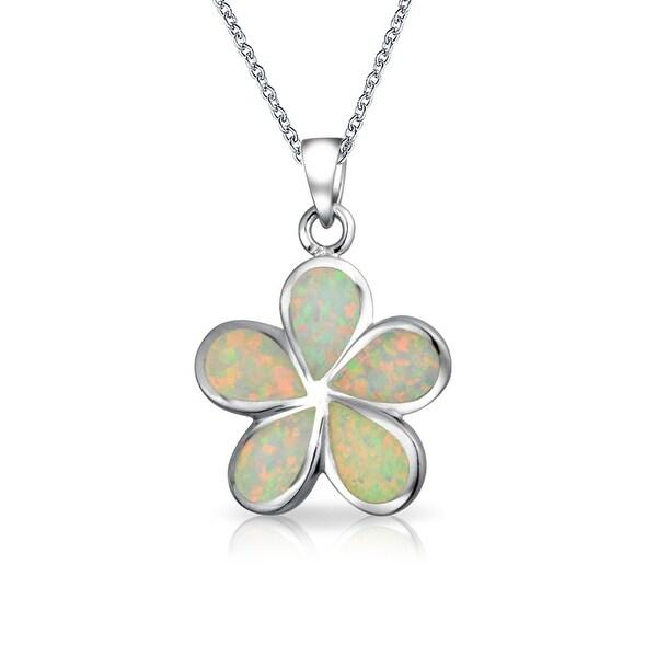 Shop White Created Opal Plumeria Hawaiian Flower Pendant Necklace
