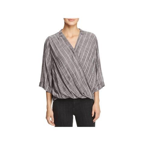 Elan Womens Blouse Striped Criss-Cross Front - S