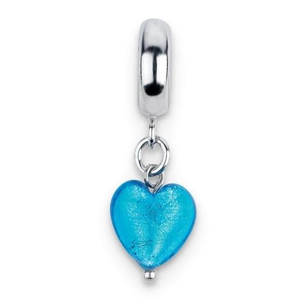 Italian Sterling Silver Reflections Blue Heart Dangle Bead (4mm Diameter Hole)