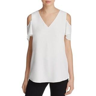 Calvin Klein Womens Casual Top Cold Shoulder Short Sleeves