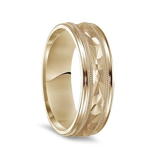 14k Yellow Gold Brushed Finish Textured Center Mens Wedding Ring With Milgrain Polished Edges 7mm