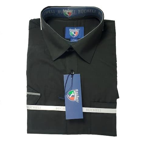 Men's Short Sleeve Cotton Blend Dress Shirt - 4 colors