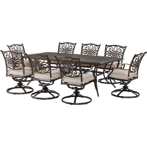 Agio Renditions 9-Piece Set with 8 Swivel Rockers and 42-in. x 84-in. Cast-Top Table, Featuring Sunbrella® Fabric in Silver