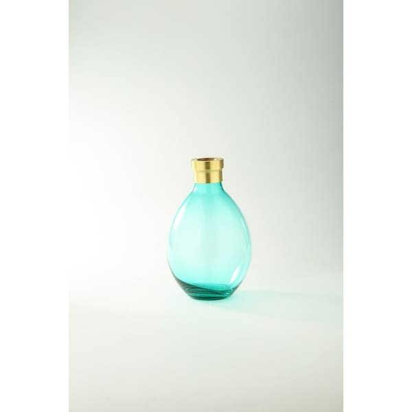 "10"" Aqua Blue and Gold Hand Blown Glass Tabletop Vase - N/A"