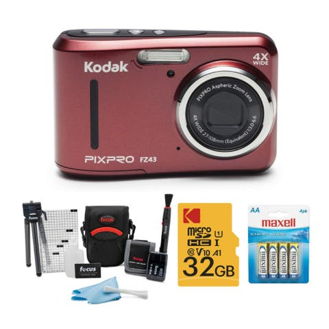 Kodak PIXPRO FZ43 Friendly Zoom Digital Camera (Red) Bundle