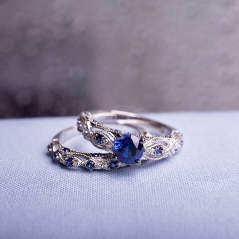 Miadora 10k White Gold Created Blue Sapphire 1/10ct TDW Diamond Vintage Bridal Set