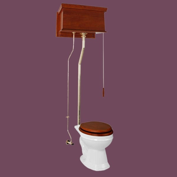 Mahogany High Tank Pull Chain Toilet White Round Brass