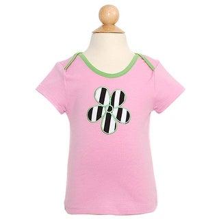 Lipstik Baby Girls 12M Pink Stripe Heart Short Sleeve Top Shirt