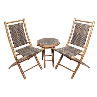 3-Piece Outdoor Conversation Set - Bamboo In Brown/Brown