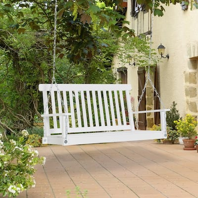 Outsunny 2-Seater Outdoor Patio Porch Swing Chair Seat with Slatted Build, Hanging Chains, Fir Wooden Design, White