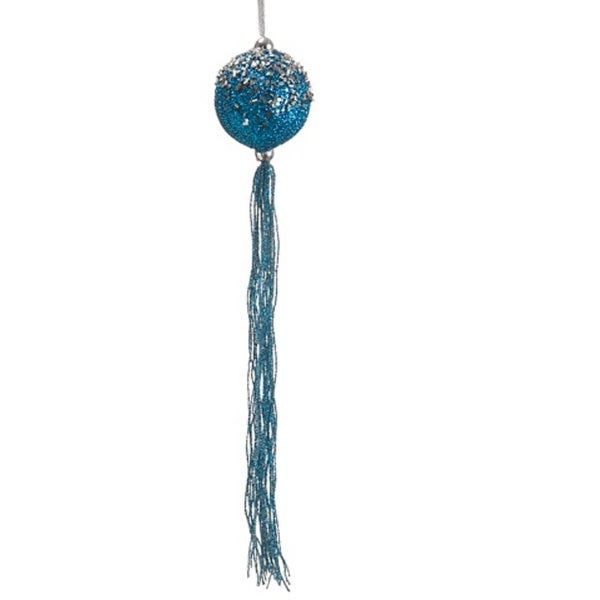 """12"""" Regal Peacock Turquoise Blue Glitter Christmas Ball Ornament with Tassels"""