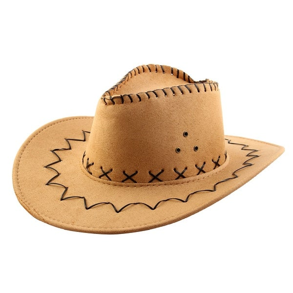 24d45b3abfe Summer Adjustable Strap Wide Brim Western Style Sunhat Cowboy Hat Light  Brown