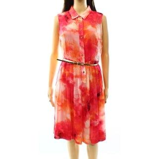 Calvin Klein NEW Pink Women's Size 4 Sleeveless Pleated Shirt Dress