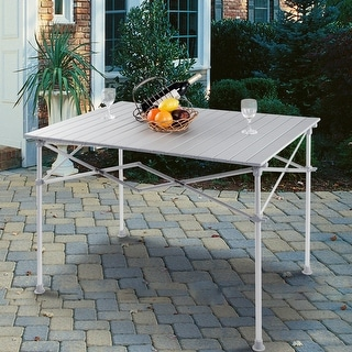 Gymax Aluminum Folding Picnic Camping Table Lightweight Roll Up In Outdoor Storage Bag