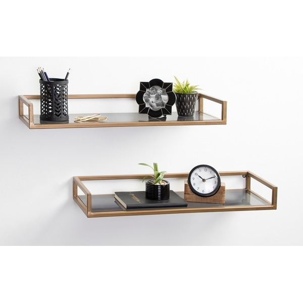 Kate and Laurel Blex Metal and Glass Wall Shelf. Opens flyout.
