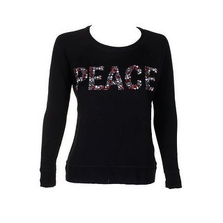Style & Co Black Red Crystal-Embellished Peace Crew Neck Raglan Sleeve Sweater