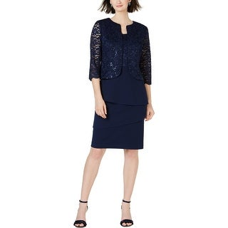 Alex Evenings Womens Dress With Jacket Lace Sequined - Navy
