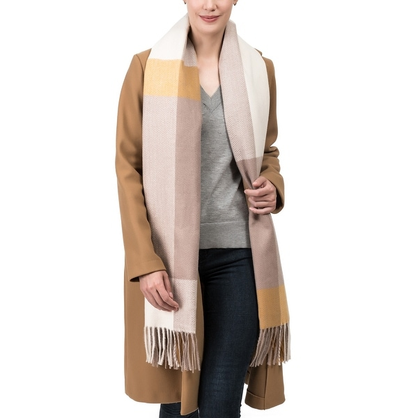 """Glitzhome 75""""L Yellow Cream and Grey Chevron Grain Scarf with Tassels. Opens flyout."""