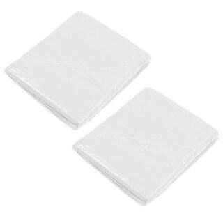 Unique BargainsOutdoor Plastic Button Long Sleeve Emergency Zipper Front Rain Coat White 2 Pcs
