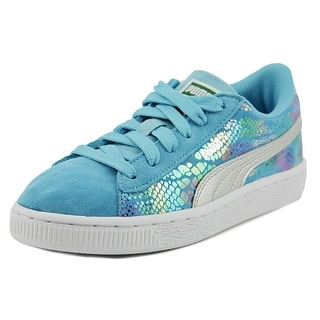Puma Suede SportLux PS Youth Round Toe Suede Blue Sneakers